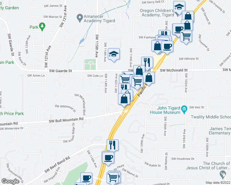 map of restaurants, bars, coffee shops, grocery stores, and more near 14245 Southwest 112th Avenue in Tigard