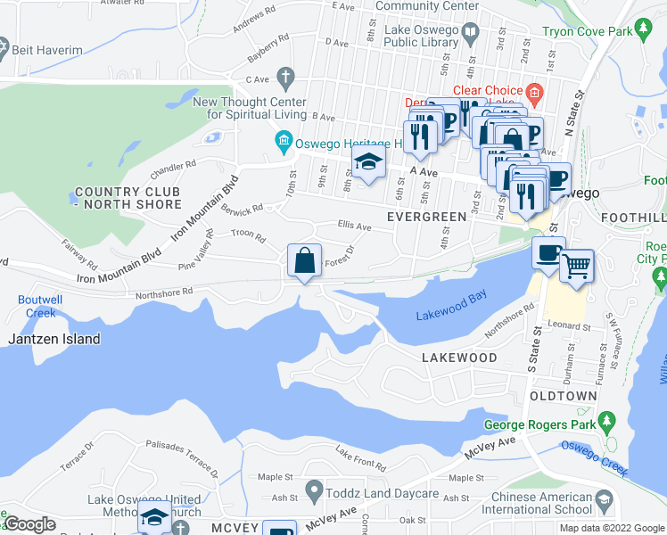map of restaurants, bars, coffee shops, grocery stores, and more near 830 Lake Forest Drive in Lake Oswego