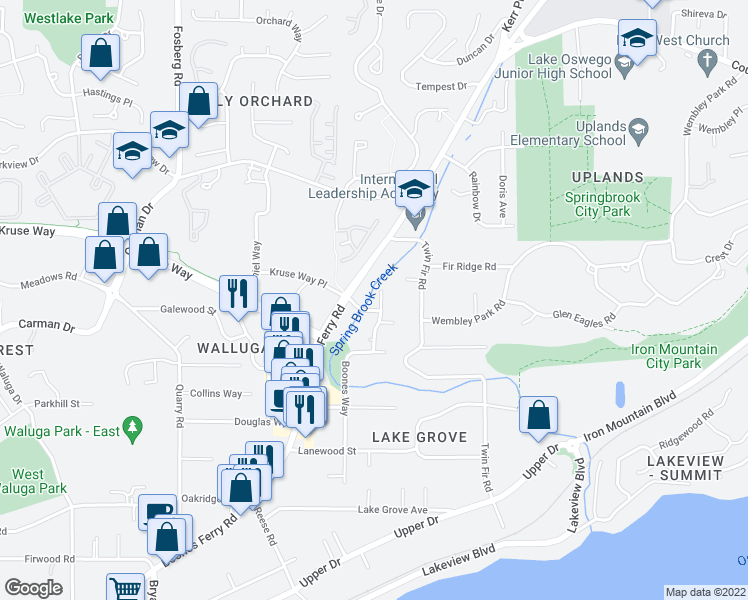 map of restaurants, bars, coffee shops, grocery stores, and more near 15052 Boones Way in Lake Oswego