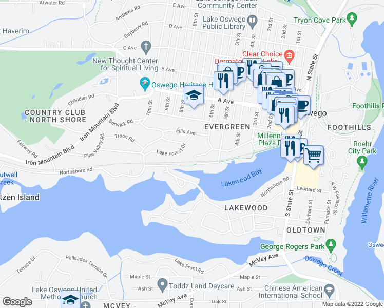 map of restaurants, bars, coffee shops, grocery stores, and more near 667 Lake Bay Court in Lake Oswego