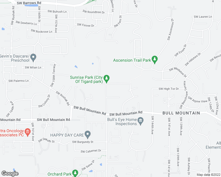 map of restaurants, bars, coffee shops, grocery stores, and more near 14960 Southwest Sunrise Lane in Tigard