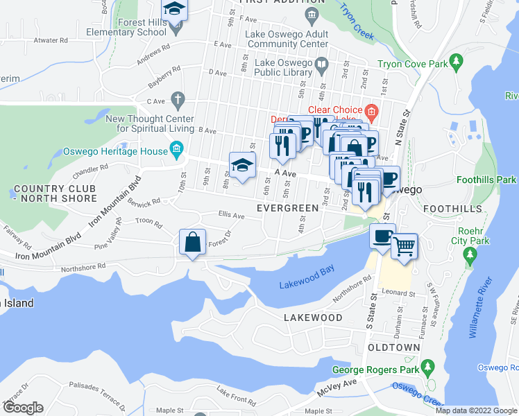 map of restaurants, bars, coffee shops, grocery stores, and more near 642 Evergreen Road in Lake Oswego