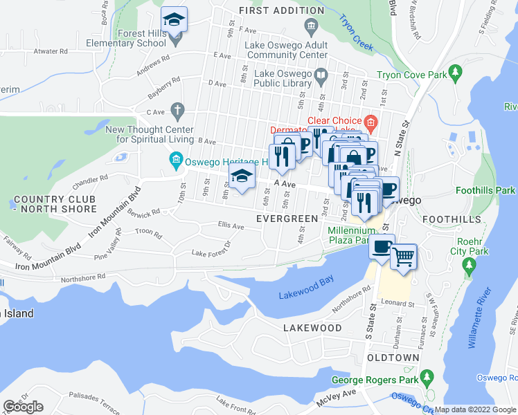 map of restaurants, bars, coffee shops, grocery stores, and more near 304 6th Street in Lake Oswego