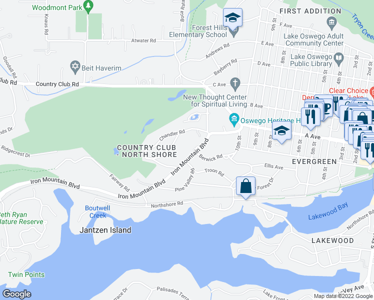 map of restaurants, bars, coffee shops, grocery stores, and more near 260 Iron Mountain Boulevard in Lake Oswego