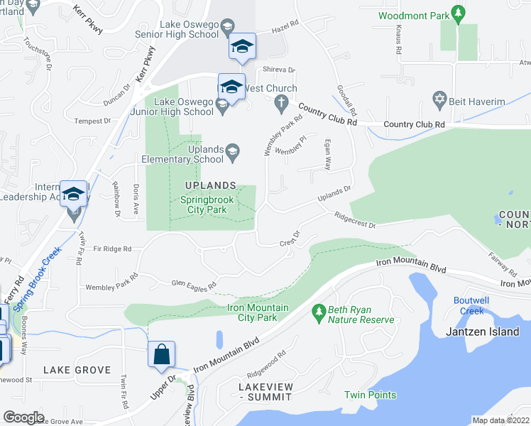 map of restaurants, bars, coffee shops, grocery stores, and more near 2230 Wembley Park Road in Lake Oswego