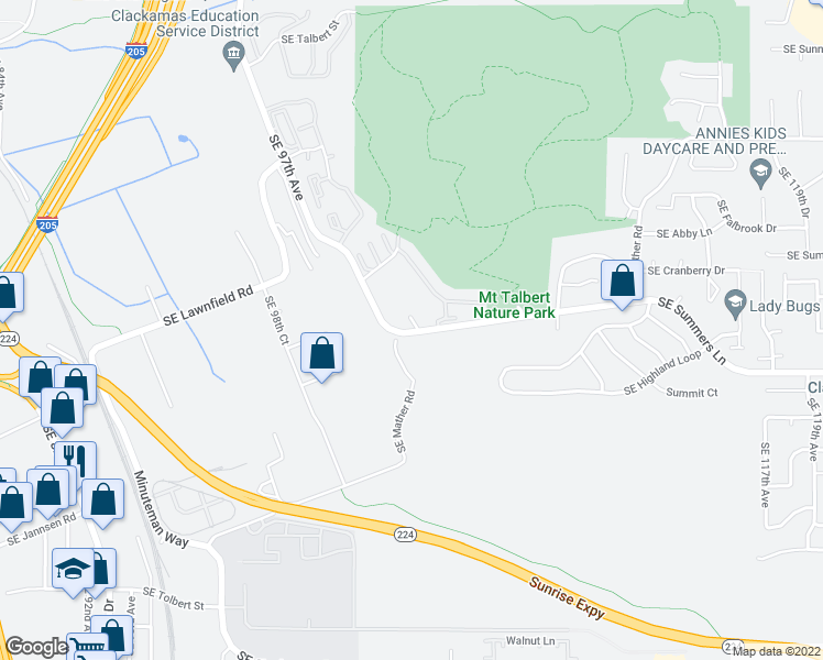 map of restaurants, bars, coffee shops, grocery stores, and more near 10261 Southeast Park Mountain Lane in Clackamas
