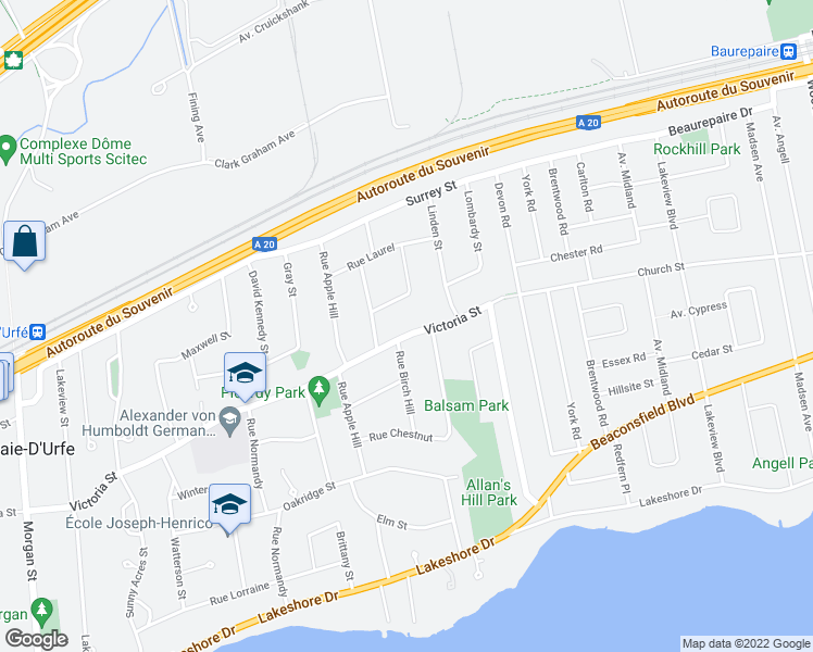 map of restaurants, bars, coffee shops, grocery stores, and more near 105 Rue Victoria in Baie-d'Urfé