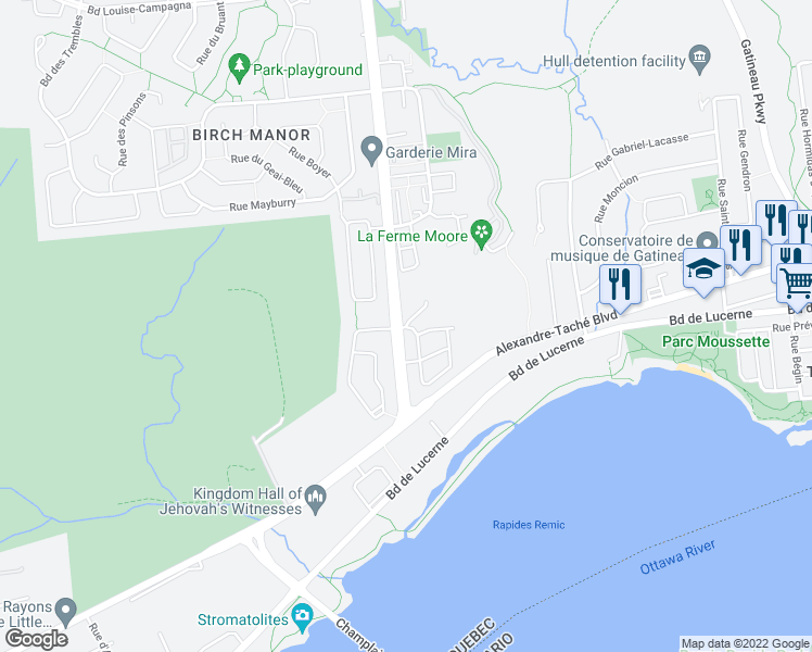 map of restaurants, bars, coffee shops, grocery stores, and more near 101 Rue du Château in Gatineau