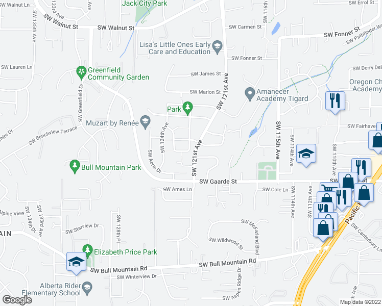 map of restaurants, bars, coffee shops, grocery stores, and more near 13770 Southwest 122nd Avenue in Tigard