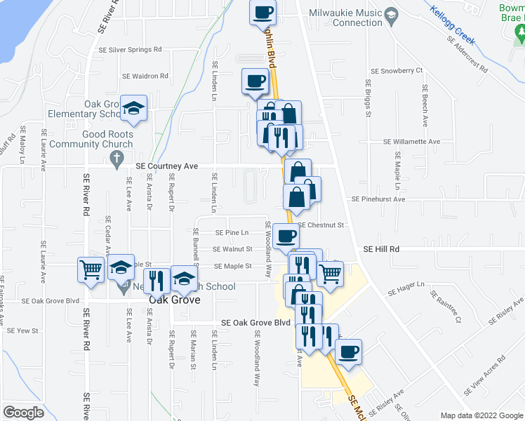 map of restaurants, bars, coffee shops, grocery stores, and more near 2745 Southeast Chestnut Street in Milwaukie