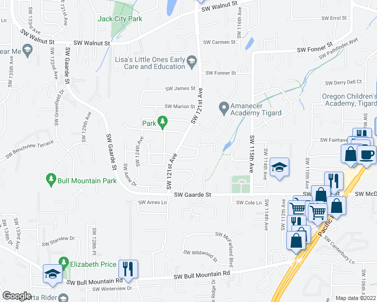 map of restaurants, bars, coffee shops, grocery stores, and more near 12053 Southwest Whistler's Loop in Tigard