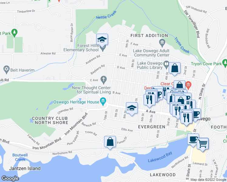 map of restaurants, bars, coffee shops, grocery stores, and more near 503 10th Street in Lake Oswego
