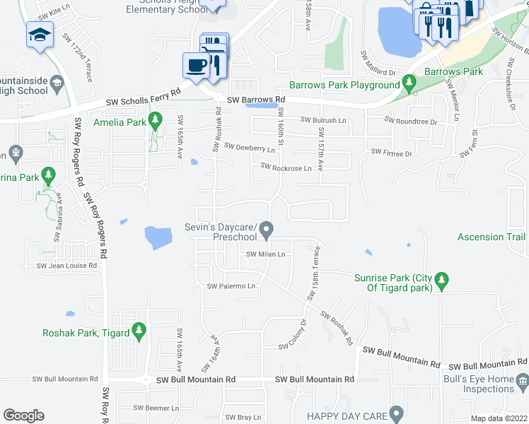 map of restaurants, bars, coffee shops, grocery stores, and more near 13515 Southwest Uplands Drive in Tigard