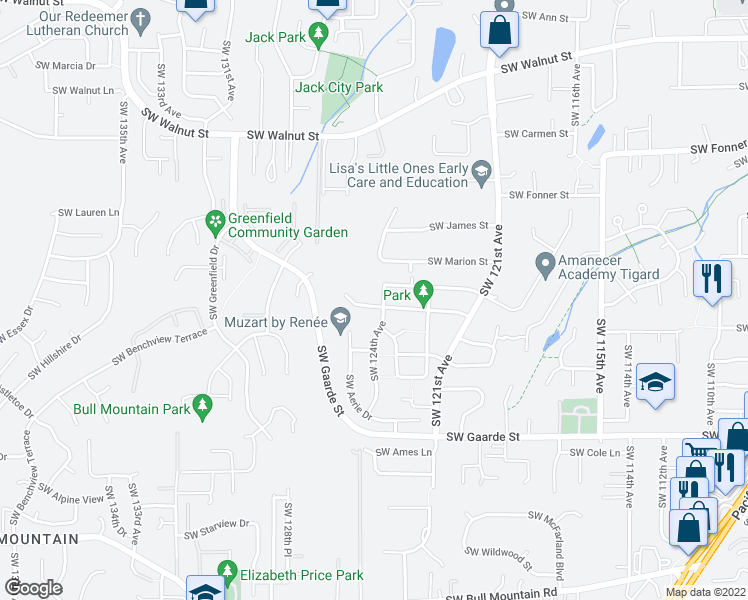 map of restaurants, bars, coffee shops, grocery stores, and more near 12437 Southwest Quail Creek Lane in Tigard