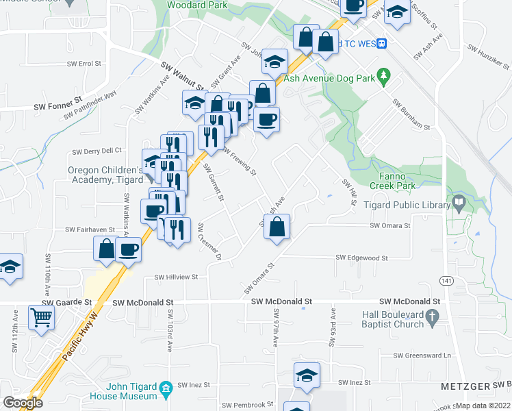 map of restaurants, bars, coffee shops, grocery stores, and more near 13402 Southwest Barnum Drive in Tigard