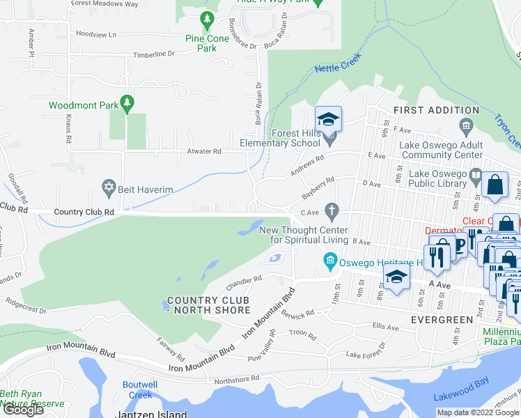 map of restaurants, bars, coffee shops, grocery stores, and more near 642 Iron Mountain Boulevard in Lake Oswego