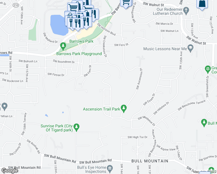 map of restaurants, bars, coffee shops, grocery stores, and more near 14535 Southwest Klipsan Lane in Tigard