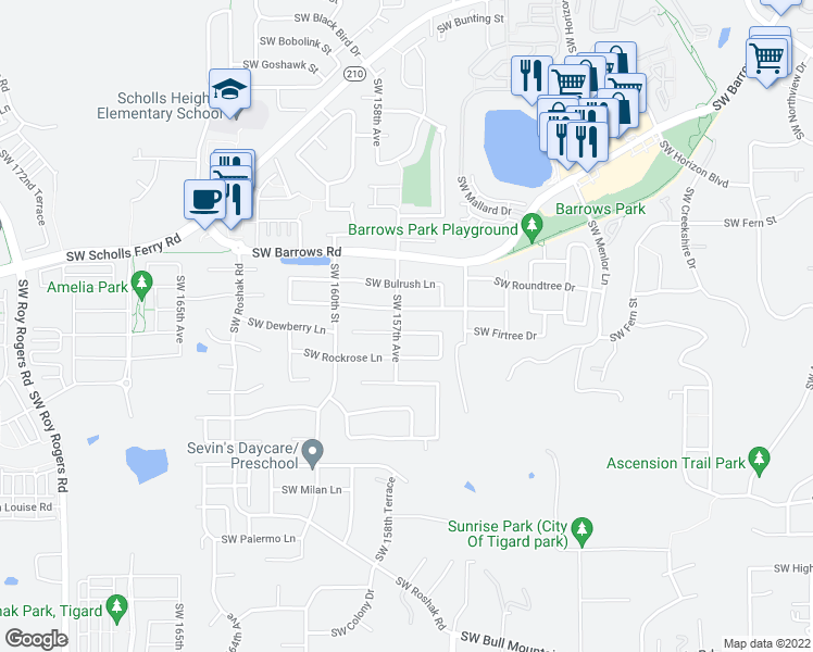 map of restaurants, bars, coffee shops, grocery stores, and more near 13130 Southwest Yarrow Way in Tigard