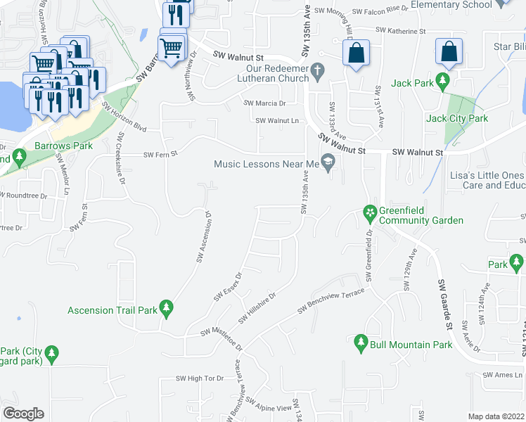 map of restaurants, bars, coffee shops, grocery stores, and more near 13694 Southwest Lauren Lane in Tigard