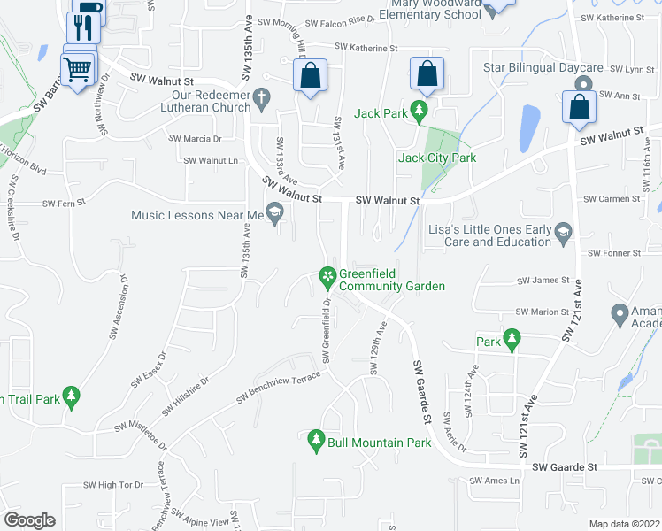 map of restaurants, bars, coffee shops, grocery stores, and more near 13053 Southwest Caddy Place in Tigard
