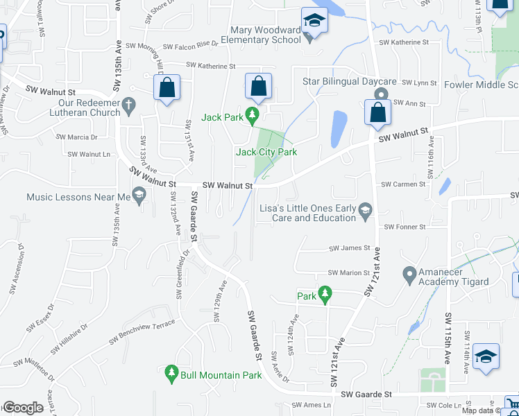 map of restaurants, bars, coffee shops, grocery stores, and more near 12630 Southwest Walnut Street in Tigard