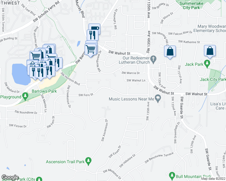 map of restaurants, bars, coffee shops, grocery stores, and more near Southwest Fern Street in Tigard