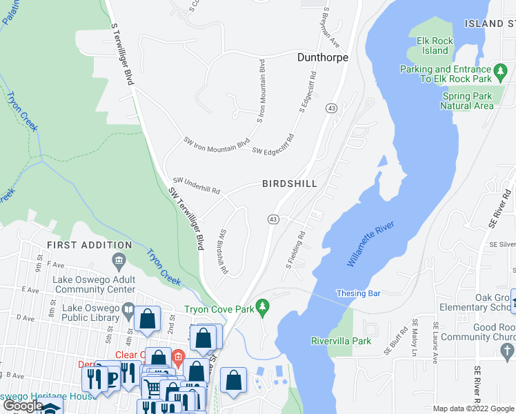 map of restaurants, bars, coffee shops, grocery stores, and more near 298 Southwest Birdshill Road in Portland