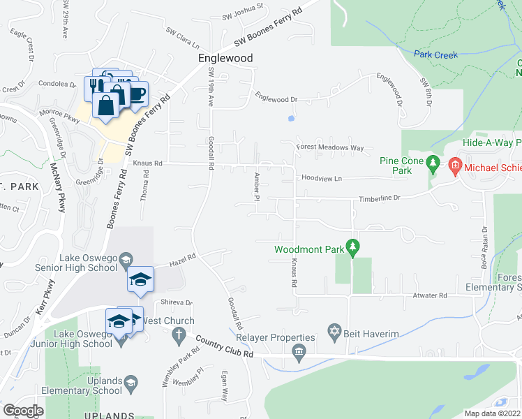 map of restaurants, bars, coffee shops, grocery stores, and more near 13258 Amber Place in Lake Oswego