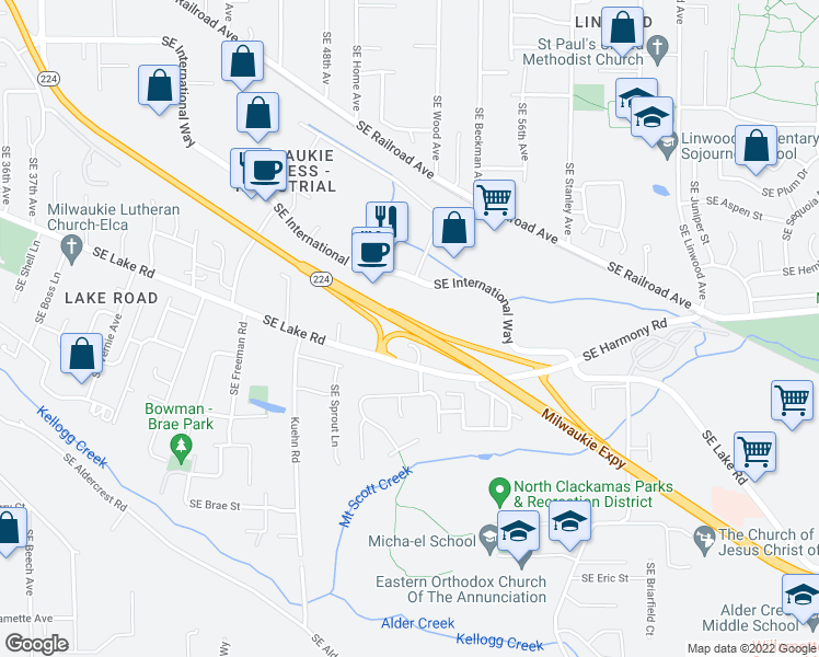 map of restaurants, bars, coffee shops, grocery stores, and more near Hwy 224 in Portland