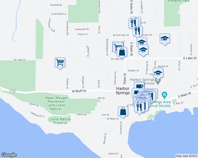 map of restaurants, bars, coffee shops, grocery stores, and more near West Summit Street in Harbor Springs