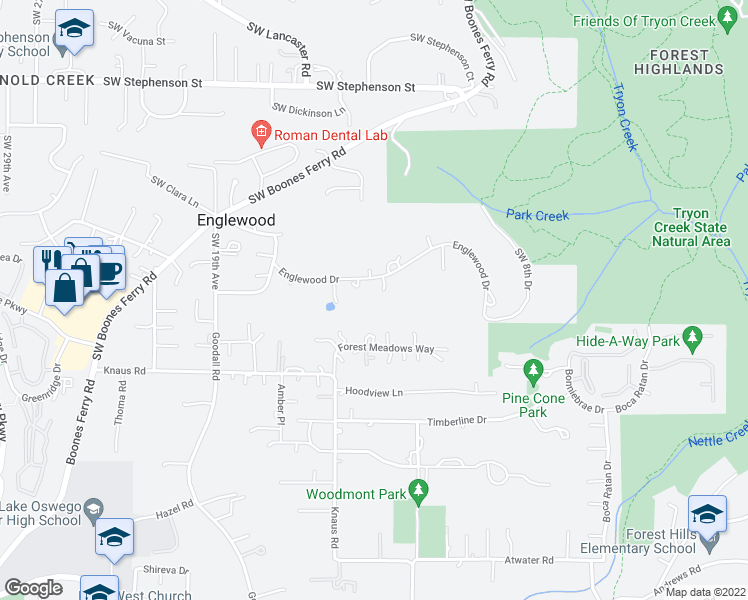 map of restaurants, bars, coffee shops, grocery stores, and more near 1128 Englewood Dr in Lake Oswego