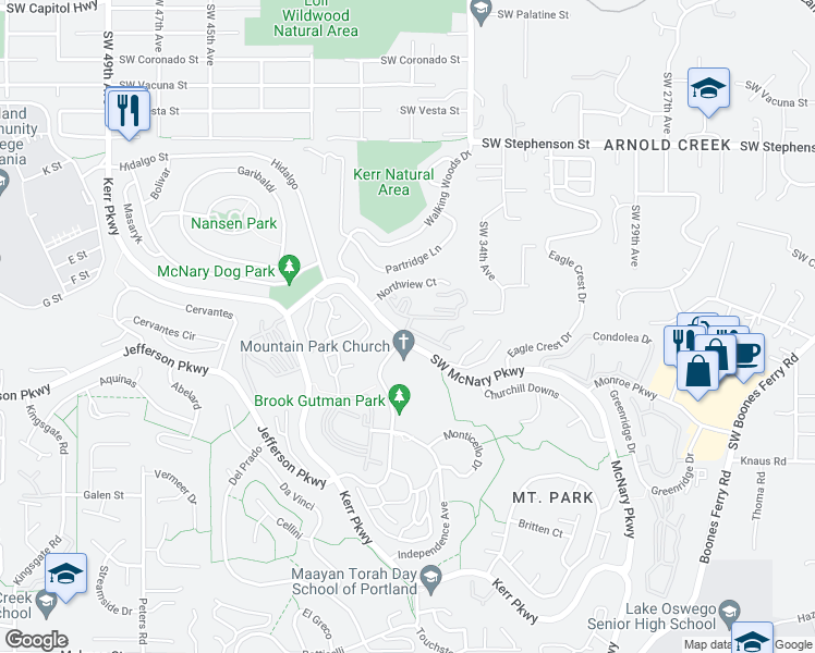 map of restaurants, bars, coffee shops, grocery stores, and more near 125 Oswego Summit in Lake Oswego