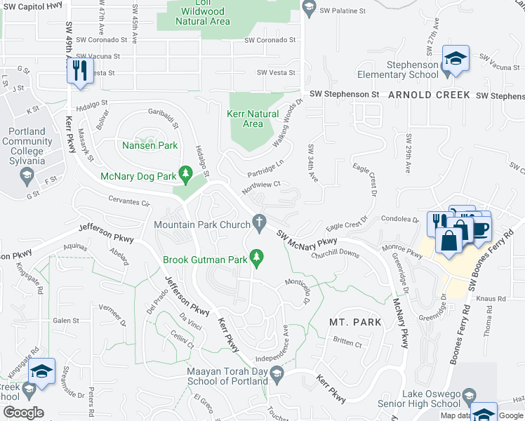map of restaurants, bars, coffee shops, grocery stores, and more near Oswego Summit in Lake Oswego