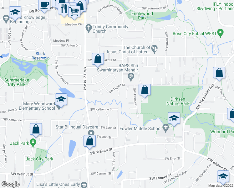 map of restaurants, bars, coffee shops, grocery stores, and more near 11675 Southwest 116th Avenue in Tigard