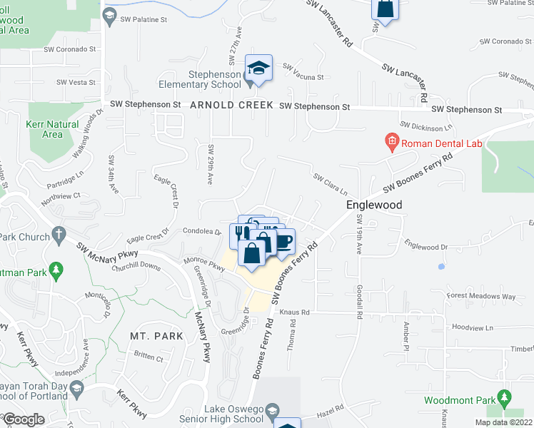 map of restaurants, bars, coffee shops, grocery stores, and more near 12401 Southwest Shelby Court in Lake Oswego