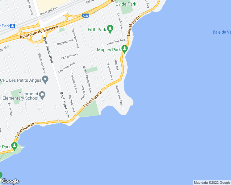 map of restaurants, bars, coffee shops, grocery stores, and more near 12 Avenue Claremont in Pointe-Claire