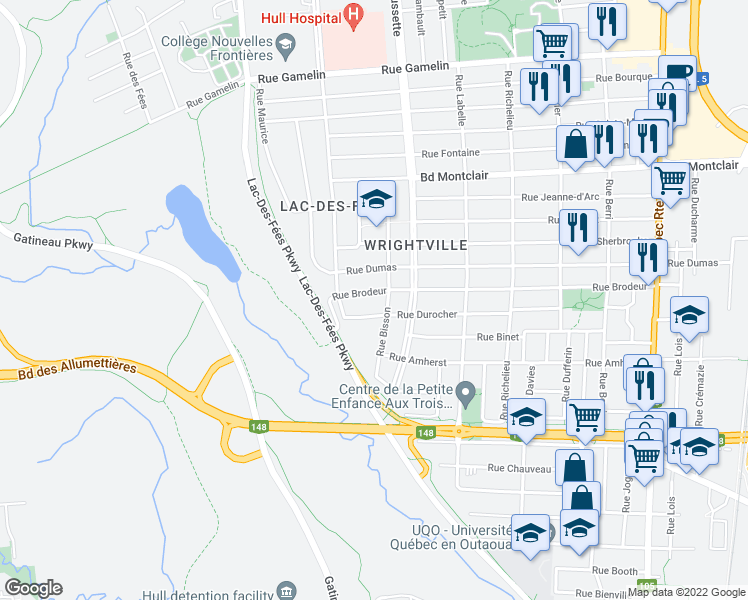 map of restaurants, bars, coffee shops, grocery stores, and more near in Gatineau