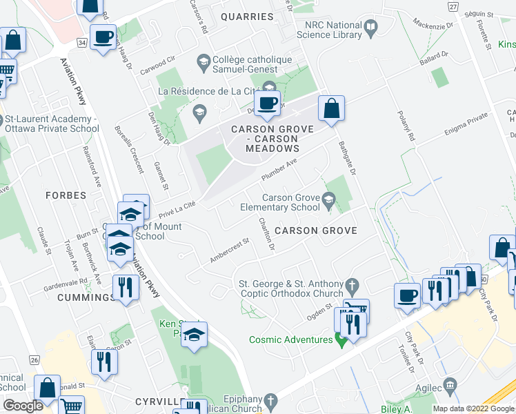 map of restaurants, bars, coffee shops, grocery stores, and more near 949 Charlton Drive in Ottawa