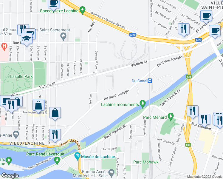map of restaurants, bars, coffee shops, grocery stores, and more near 328 Avenue George-V in Montréal