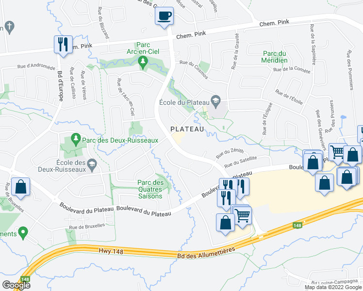 map of restaurants, bars, coffee shops, grocery stores, and more near 400 Boulevard des Grives in Gatineau