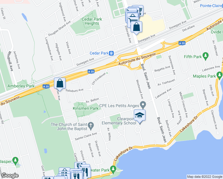 map of restaurants, bars, coffee shops, grocery stores, and more near 41 Avenue de Winston Circle in Pointe-Claire