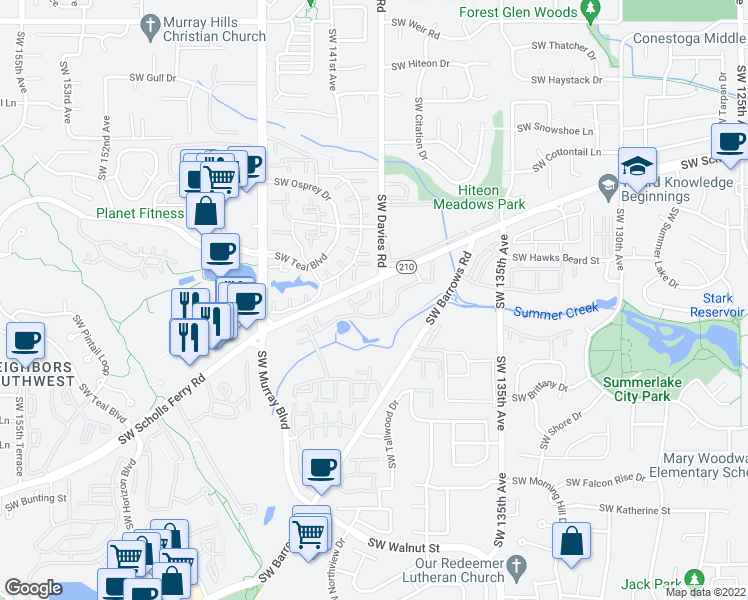 map of restaurants, bars, coffee shops, grocery stores, and more near 14076-14420 Southwest Scholls Ferry Road in Beaverton