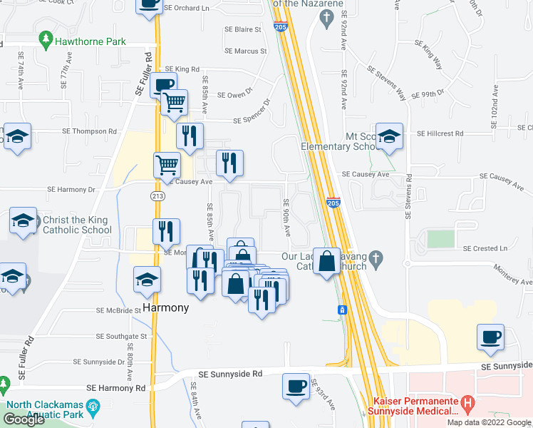 map of restaurants, bars, coffee shops, grocery stores, and more near 8800 Southeast Causey Loop in Happy Valley