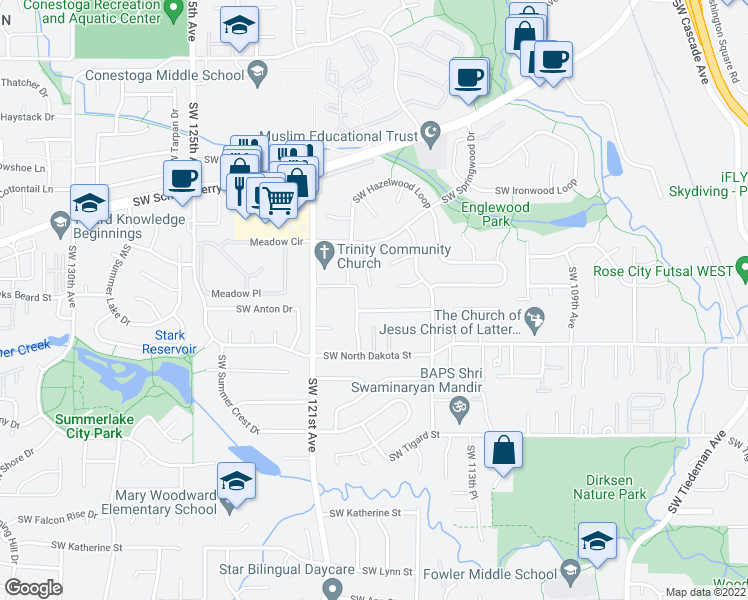 map of restaurants, bars, coffee shops, grocery stores, and more near 10900 Southwest 121st Avenue in Tigard