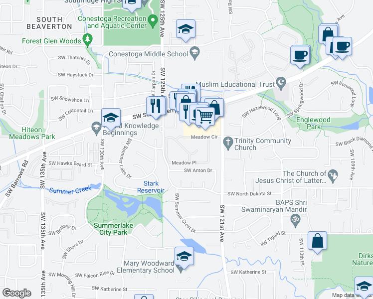 map of restaurants, bars, coffee shops, grocery stores, and more near 12505 Southwest North Dakota Street in Tigard