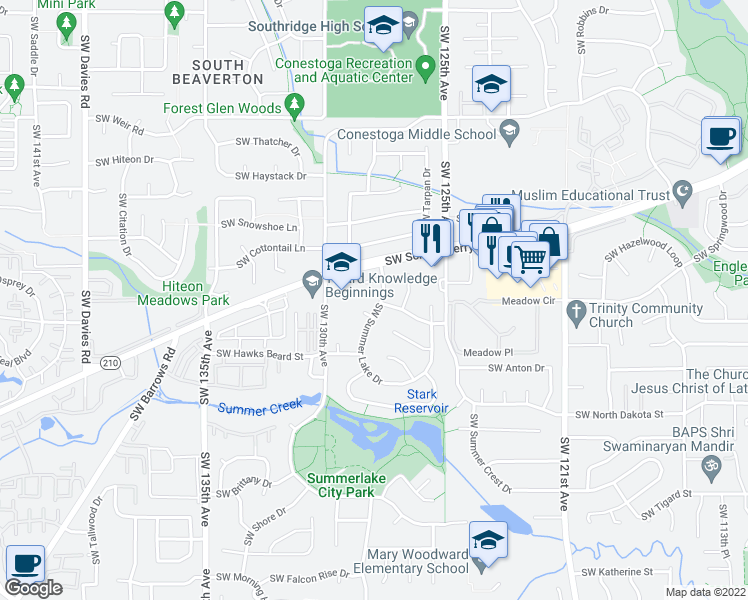 map of restaurants, bars, coffee shops, grocery stores, and more near 10785 Southwest Summer Lake Drive in Tigard