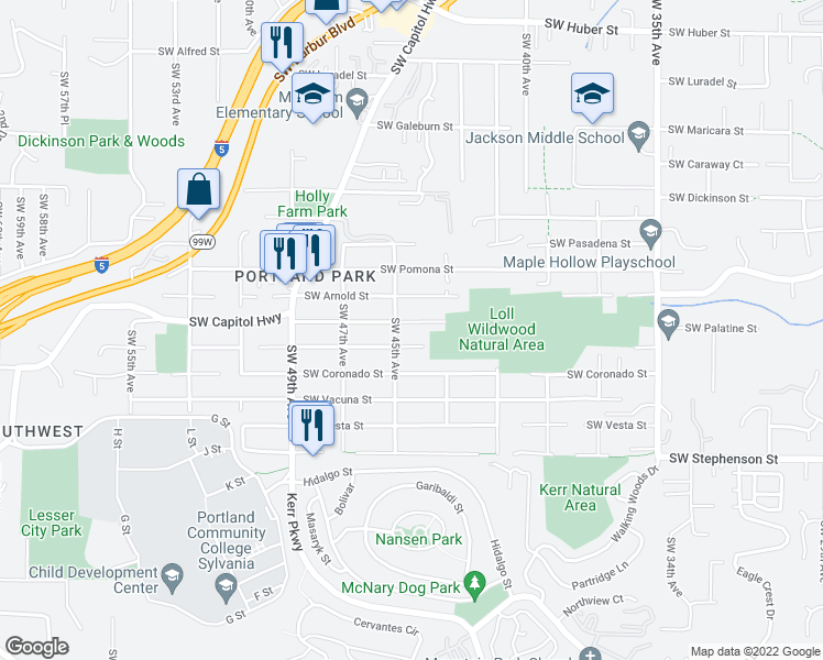 map of restaurants, bars, coffee shops, grocery stores, and more near 4428 Southwest Palatine Street in Portland