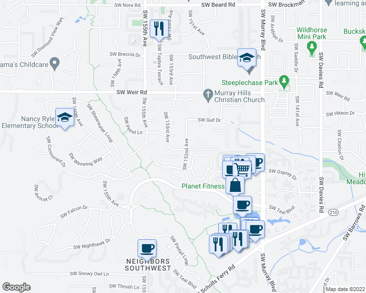 map of restaurants, bars, coffee shops, grocery stores, and more near 10475 Southwest 152nd Avenue in Beaverton