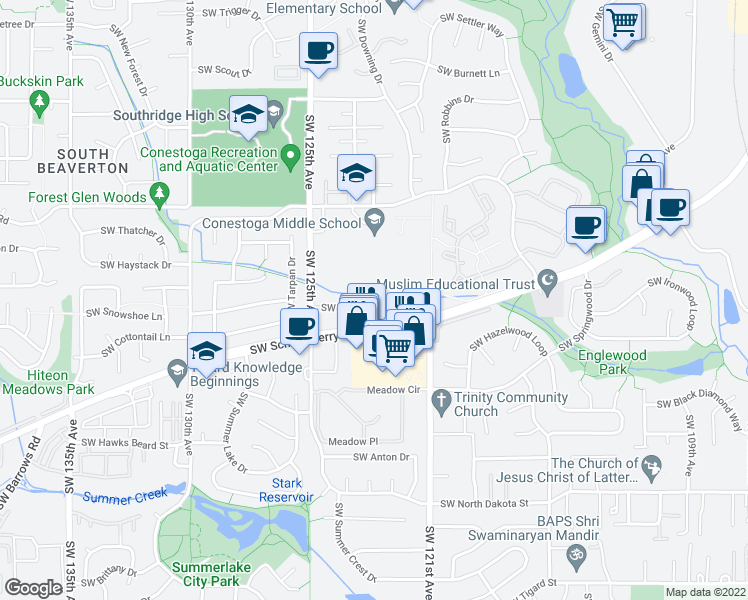 map of restaurants, bars, coffee shops, grocery stores, and more near 12000 Southwest Pioneer Lane in Beaverton