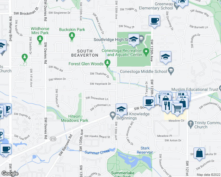 map of restaurants, bars, coffee shops, grocery stores, and more near 13035 Southwest Combine Street in Beaverton